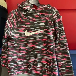 Nike Girls Therma Fit Pink/Gray Hoodie 6X Like Nee
